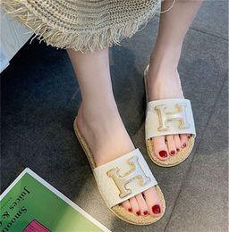 $enCountryForm.capitalKeyWord Australia - Designer Slippers Womens Sandals with Letter H HOT Sale Luxury Quality Woven Sole Girls Shoes White Black Khaki Color Female Shoes Fashion