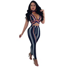 e16f2936673 Sexy Women Long Jumpsuit Stripes Contrast Color Choker Deep V Neck  Sleeveless Overalls Cutout Waist Rompers Playsuit Female