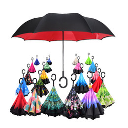 Chinese  Fashion C-Hand Windproof Reverse Double Layer Inverted Umbrella Inside Out Self Stand Windproof Umbrella 38 design A006 manufacturers