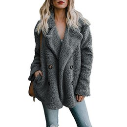 $enCountryForm.capitalKeyWord UK - New Solid Coat Women Autumn Winter Wide Lapel Loose Warm Outwear Female Casual Jumper Ladies Loose Blend Coat Faux Fur Ladies T190801