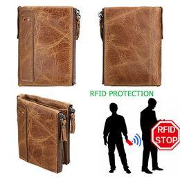 Wallet Perse Australia - 100% Genuine Leather Men Wallet Small Zipper Pocket Men Wallets Portomonee Male Short Coin Purse Brand Perse Carteira For Rfid