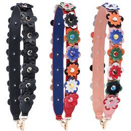 Venta al por mayor de Flores de colores Correas de hombro de moda para bolsos Correa de equipaje Manijas de cuero de alta calidad para bolsos de múltiples colores