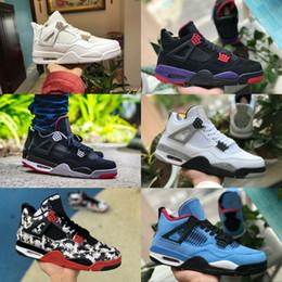 brand new 33380 622c4 Nike Air Jordan retro 4 Shoes New Jordans 4s Tatuaje Negro Blanco Cemento  Graffiti Cactus Jack Raptors Zapatos para hombre Barato 4 Kaws Travis  Scotts ...