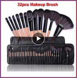 32 pçs / set Pincéis de Maquiagem Profissional com saco Set Compõem Pinceaux Maquillage Pinceaux Kit de Ferramentas de Beleza Cosméticos Eyeshadow bea117a DHL em Promoção