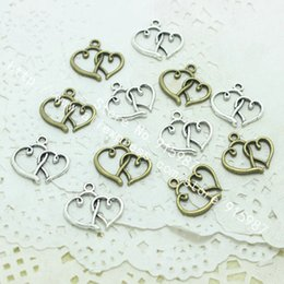 two heart charms NZ - Sweet Bell Wholesale 300 pieces lot 18*19mm Two Color Antique Alloy Small Double Heart Charms Jewelry Pendants diy D0187