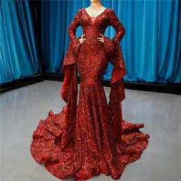 Arabian Plus Size Dresses Australia - Arabian Dubai Design Wine Red Runway Fashion Evening Dresses 2019 Sequined Long Sleeve Sparkle Fashion Bride Toasting Gowns robe de soiree