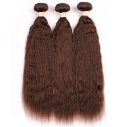 $enCountryForm.capitalKeyWord Australia - Medium Brown Kinky Straight Indian Human Hair Weave Bundles #4 Chocolate Brown Coarse Yaki Human Hair Bundles Deals 3Pcs Double Wefts