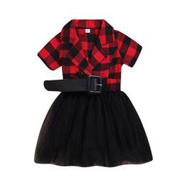 0e7d7f1e wholesale in stock Lace short sleeve casual Dresses baby children available  Girl plaid princess Dress Party Clothing wear