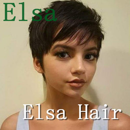 peruvian straight short wig Canada - Pixie short Wigs Glueless Lace Front Short Bob Wigs Silky Straight Peruvian Human Remy Hair Wigs For Women Non Lace Baby Hair