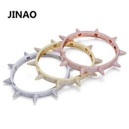 Bracelets For Men Silver Australia - Luxury Iced Out Bling Cubic Zircon Hip Hop Rose Gold Silver Rivet Bracelets Spike Bangles Gifts For Men Women C19030201