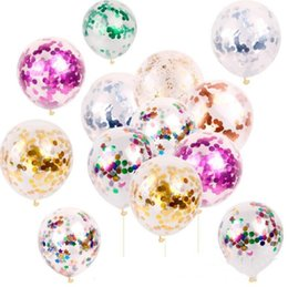 Discount balloons New Fashion Multicolor Latex Sequins Filled Clear Balloons Novelty Kids Toys Beautiful Birthday Party Wedding Decorations