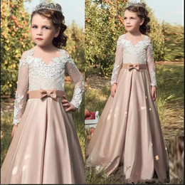 t shirt long backs for girls NZ - Flower Girl Dresses For Wedding Vintage Little Girl Pageant Dresses Long Sleeves Knot Bow Buttons Back Top Lace Full Sleeves
