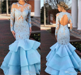 mermaid fishtail skirt Australia - Light Sky Blue Lace Mermaid Prom Dresses Wth Long Sleeve 2019 Modest Jewel Keyhole Back Fishtail Ruffles Skirt Evening Gowns