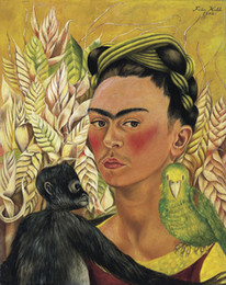 $enCountryForm.capitalKeyWord Australia - Frida Kahlo Art Self Portrait With Monkey And Parrot,Oil Painting Reproduction High Quality Giclee Print on Canvas Modern Home Art Decor 183