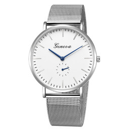 Discount geneva men business watch new arrive geneva watch simple mesh watches steel wholesale factory price clock for unisex one eye wrist watches busines