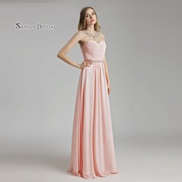 Petite Wedding Gown Pink Australia - 2019 Long A-Line Pink Chiffon Maid of Honor Sheer Neck Bridesmaid Prom Dress Floor Length Beaded Evening Backless Party Gowns LX510