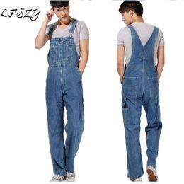 Overall Jumpsuits Australia - Hot 2018 Men's Plus Size Overalls Large Size Huge Denim Bib Pants Fashion Pocket Jumpsuits Male Free Shipping Brand T2190614