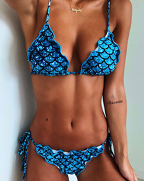 $enCountryForm.capitalKeyWord Australia - Fish Scale Printing Bikini Nylon Sexy Swimsuit Two Pieces Woman Bathing Suits Swimwear Wading Exercise With Chest Pad A0755