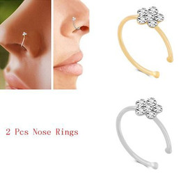 $enCountryForm.capitalKeyWord Australia - 8 Styles Rhinestone Crystal Flower Fake Hoop Nose Ring Punk Gold Silvers Lip Clip Woman Nostril Ear Hoop Ring Sexy Body Jewelry