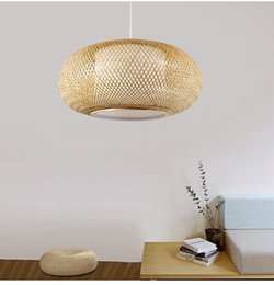 $enCountryForm.capitalKeyWord Australia - Modern Bamboo Work Hand Knitted Pendant Lamp Round Pendant Lamp Wooden Shades For Dinning Room Bar Suspension Pendant Light
