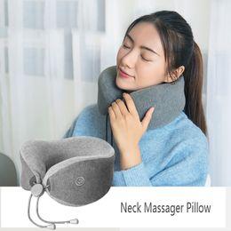 Refresh Car Australia - wholesale LF Neck Massage Pillow Car Home Use Chair Shiatsu Electronic Massager Device Refreshing&Breathable Memory Pillow Grey