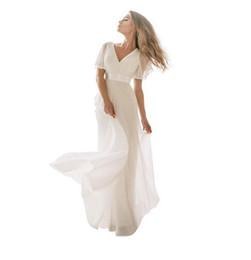 $enCountryForm.capitalKeyWord UK - Elegant V Neck Long Wedding Dresses 2019 Simple White Ivory Dress with Short Sleeves Ribbon Belt Chiffon Floor Length Maxi Bridal Gowns