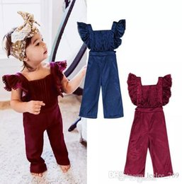 girl jumpsuit playsuit Australia - Fashion Kid Baby Girls Clothes Flying Sleeves Ruffles Backless Velvet Overalls Romper Jumpsuit Playsuit Bibpants Toddler Outfits Set