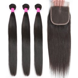 remy human hair bundles Canada - 100% Human Hair Weave Bundles with Closure Non Remy Hair Weft 3 4 Bundles Brazilian Straight Hair Bundles with Closure