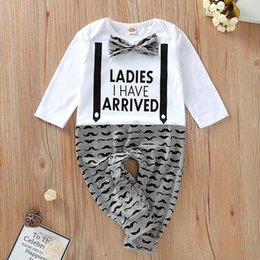 baby mustache clothes Canada - Ins Autumn Infant Baby Kids Cotton Rompers Child Boy Bowtie Letters Long Sleeve Onesies Toddlers Climb Clothes Mustache Babies Romeprs 5287