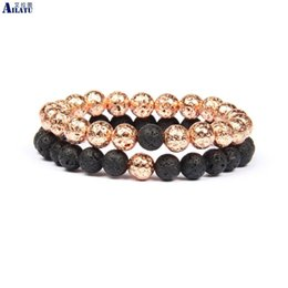 rose beads 8mm Canada - Ailatu New Couples Distance Bracelet with 8mm Rose gold & Black Lava Stone beads