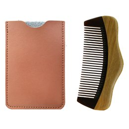 $enCountryForm.capitalKeyWord Australia - Wooden Beard Comb &Leather Case Handmade Hill Shape ,Perfect For Use With Balms And Oils ,Green Sandalwood Comb For Beards &Mustaches