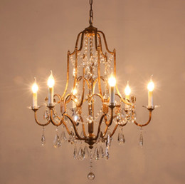 Bedroom Chandeliers Candles Australia - American Country Chandelier Crystal Compound Building Living Room Lighting Restaurant Iron Art French Art Bedroom Simple Candle Lamps LLFA
