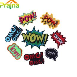 $enCountryForm.capitalKeyWord Australia - 8PCS Cool Letter Patch POW Kids Cartoon Iron On Cute Funny Patches For Clothes Stickers Cheap Embroidered Hippie Patches Mix