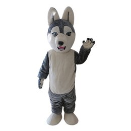 2019Adult Grey Wolf Siberian Husky Mascot Costume Carnevale Festival commerciale pubblicità Party Dress con un mini ventilatore interno testa