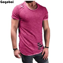 Ripped Black Tee Australia - New Hot Sale Ripped Men Slim Fit Cotton Tops T-Shirt Short Sleeve Casual O Neck Tee Shirt