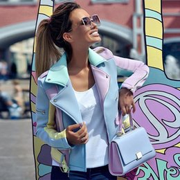 $enCountryForm.capitalKeyWord Australia - spring autumn Multicolor Spliced Diagonal Zipper Jackets Women Epaulet Design Turn-Down Collar Coat Ladies Basic Coat