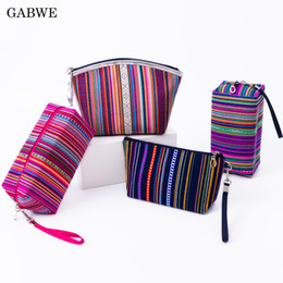 cotton pouches wholesale 2019 - GABWE New Vintage Women Cosmetic Case Cotton Striped Retro Makeup Bag Beauty Organizer Travel Pouch Necessarie Toiletry