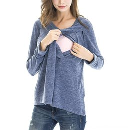 nursing tops maternity clothes UK - Nursing Top Women Clothing Maternity Supplies Winter Long Sleeve Breastfeeding Comfy Solid Tshirt Elegant Pregnant Maternity Clothes Ropa Em
