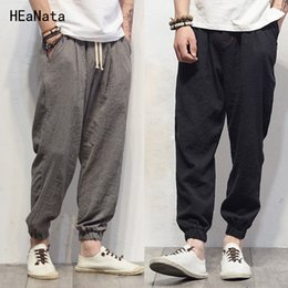 linen trousers mens joggers Australia - Plus Size Cotton Linen Harem Pants Mens Jogger Pants New Male Casual Track Pants Trousers Hip Hop Loose Chinese TraditionalMX190905