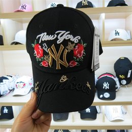 High Quality Luxury Brand Rose and Letter Embroidery Caps Long Brim Cotton  Sun Hats Golf Outdoor Sports Famale Male Baseball Caps 8157b96afd2a