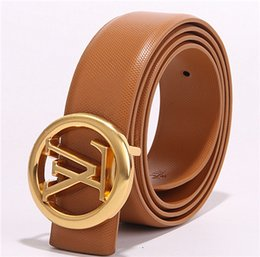 Wholesale Men s casual business belt a variety of colors gold round buckle letter buckle optional Soft material essential for sports and busin