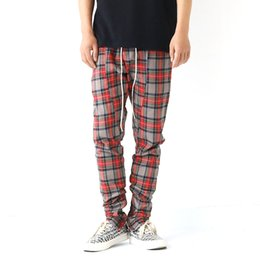 Wholesale british plus size clothing online – New Men clothing Hair Stylist British Fashion Red lattices Cuff zip Casual Pants plus size Singer costumes