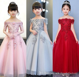 $enCountryForm.capitalKeyWord Australia - Lace Little Kids Infant Flower Girl Dresses Princess Bateau Neck Tulle 3d Floral Girls' Pageant Short Formal Wears for Wedding
