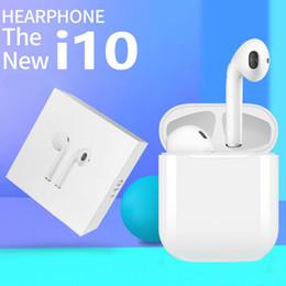 I10 5.0 binaural stereo kulaklık kablosuz spor kulaklık şarj bölmesi ile TWS, Samsung, Android ve diğer indirimde