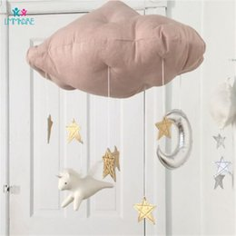 Red Cloth Curtain Australia - Baby Bedroom Decoration Cloth Cartoon Cloud Wall Hanging Children Game Tent Bed Curtain Matching Decoration Baby Bedding Sets