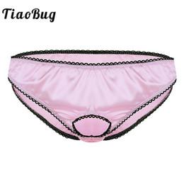 $enCountryForm.capitalKeyWord Australia - TiaoBug Mens Lingerie Open Front Penis Ring Soft Satin Low Rise Hot Sissy Bikini Briefs Underwear Sexy Men Erotic Panties