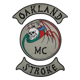 free patches for clothes 2019 - OAKLAND STROKE MC Embroidered Patches Full Back Size Iron On Custom Design For Men Jacket Clothing Free Shipping cheap f