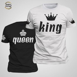news clothes Australia - King Queen Lovers Tee T Shirt Imperial Crown Printing Couple Clothes Lovers Tee Shirt Femme Summer News Casual O-neck Tops