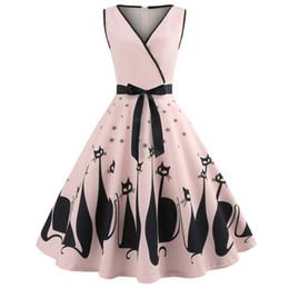 9523f32e49 Kenancy Audrey Hepburn 1960s Party Dress Sexy V Neck Sleeveless Belts Women  Retro Dress Cat Print Rockabilly Swing Vestidos Robe Y190425