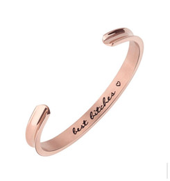 China 2019 Jewelry Stainless Steel BEST BITCHES Bangle Mantra Bracelet Anniversary Gift, Girlfriends Bangle, Birthday Gift for Friend supplier bitch jewelry suppliers